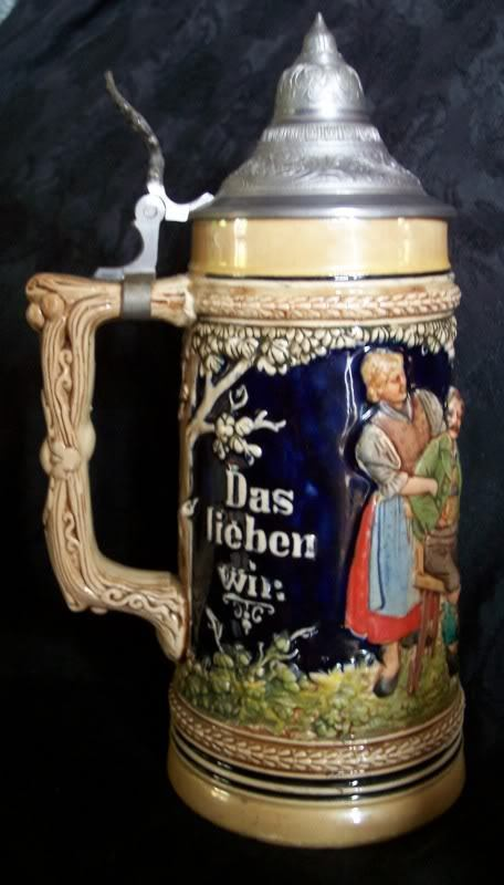 French Zone Germany Stein Unmarked Gerz Hand Painted Heavy Pottery Lidded Germany