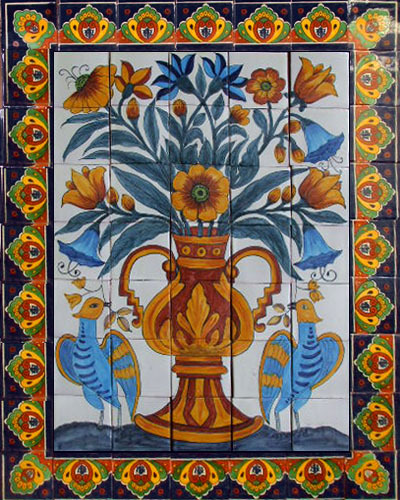 Mexican tile mural home d cor for Decorative tile mural