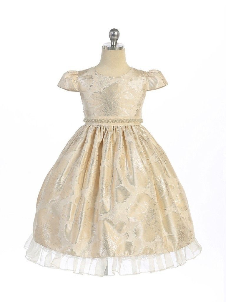 Gorgeous Champagne Ivory Brocade Pageant Flower Girl Dress Crayon Kids USA - Cha