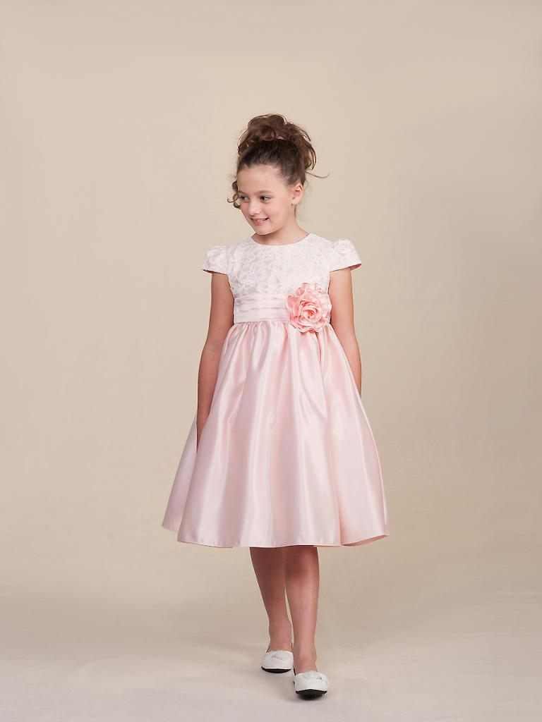 Image 1 of Stunning Pink Pageant Flower Girl Holiday Party Dress/Lace Top, Crayon Kids USA