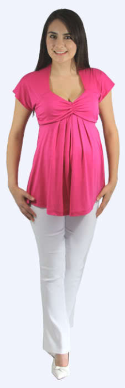 Flirty Hot Pink Princess Peasant Top/White Pants Maternity Set for Work/Play USA