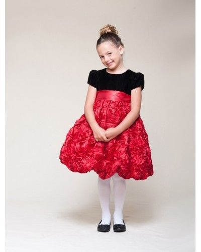 Image 2 of Dressy Velvet Top Swirl Floral Red Skirt Pageant Flower Girl Dress Crayon Kids -
