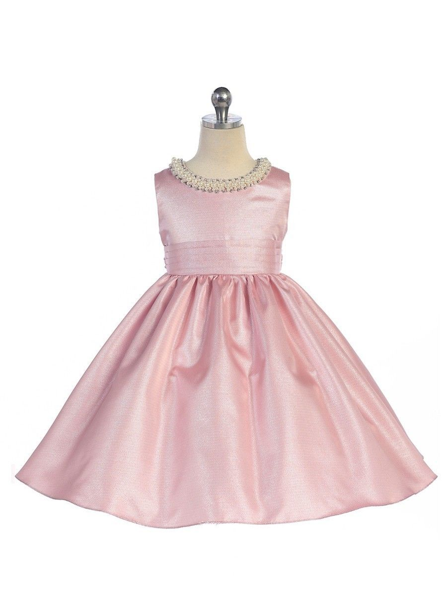 Image 0 of Stunning Pink Satin Flower Girl Pageant Dress w/ Beaded Neckline, Crayon Kids -