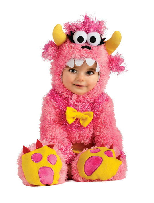 Adorable Fluffy Pinky Winky Monster Romper & Headpiece Costume, Rubies - 6-12 Mo