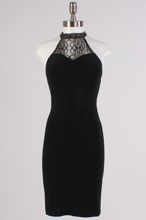 Image 4 of Sexy Black Halter Gold Mesh Lace Neck/Racer Track Back Party Mini DressLydia - L