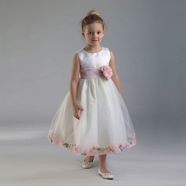 Image 3 of Stunning White Christening Flower Girl Dress w/Pink Petals Crayon Kids USA - Whi