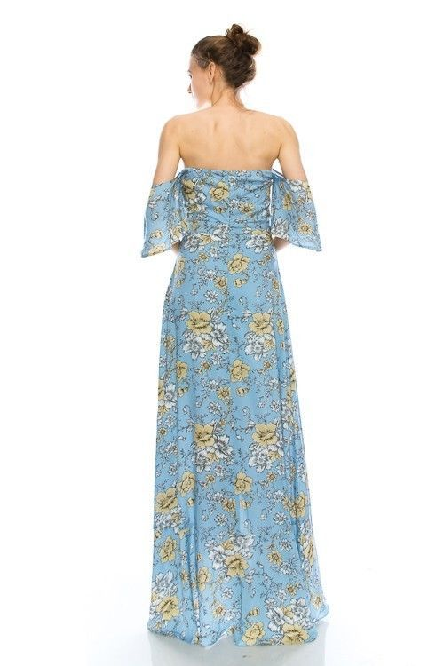 Image 1 of Sky Blue Floral Print Romantic Off Shoulder Maxi Dress S M or L - Light Blue - P