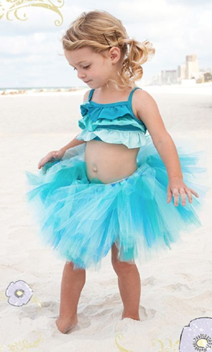 Image 2 of Beautiful Pansy Pie Little Mermaid Tank Top Poofy Ocean Blue Tutu Boutique Set -