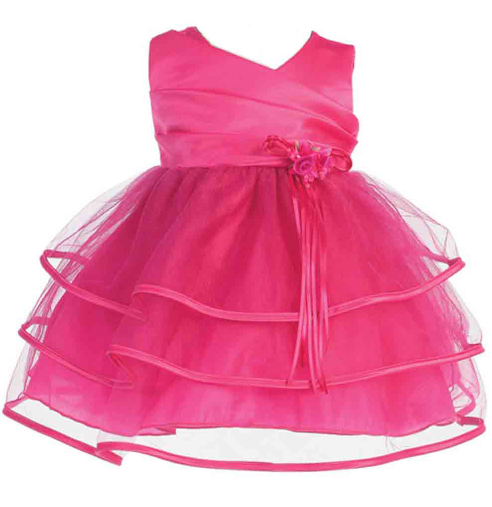Sweet Baby Girl Posh Fuchsia or Pink/White Flower Girl Pageant Party Dress