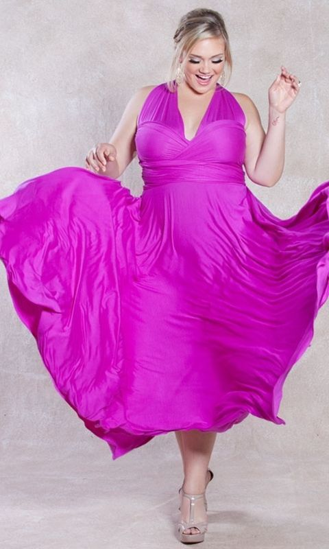 Image 4 of SWAK Designs Sexy Eternity Wrap Maxi Party Cruise Dress, Posh Plum or Pink