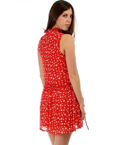 Image 1 of Sweet Flirty Red Chiffon Polka Dot Sleeveless Anytime Mini Dress w/ Pockets - Re