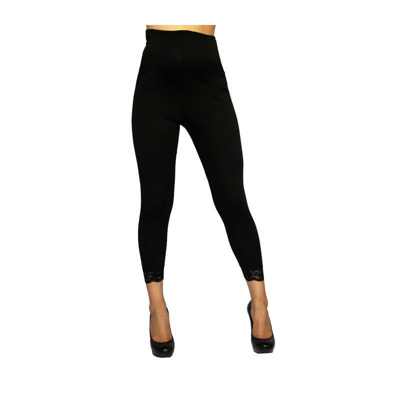 Image 2 of Sexy & Versatile Black Rayon Blend Maternity Capri Leggings USA, S, M, L or XL -