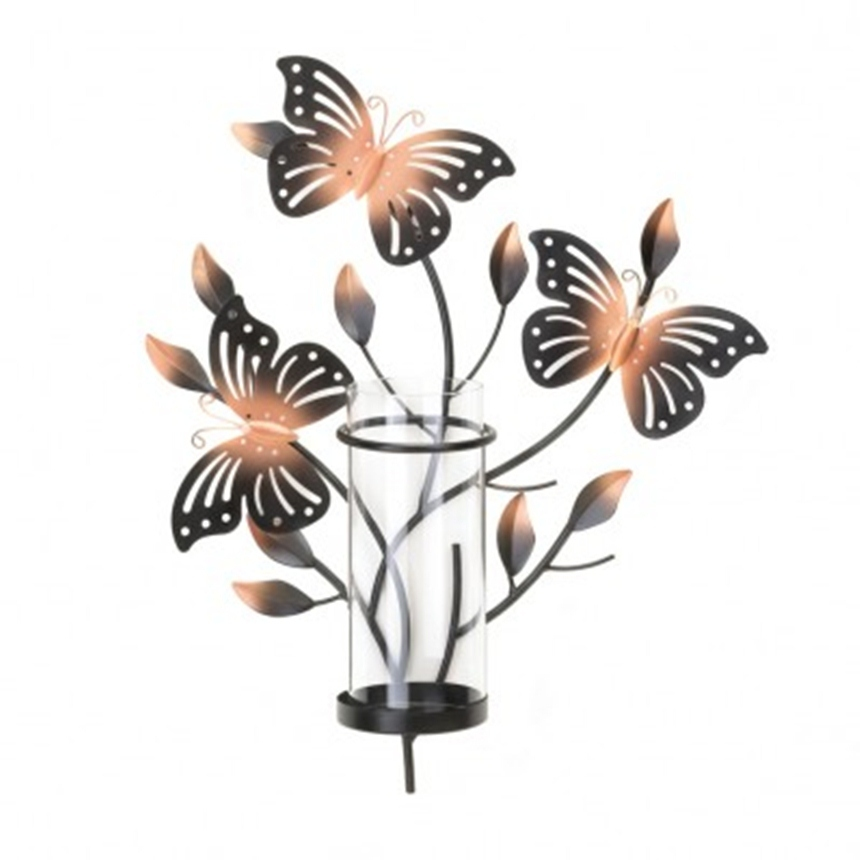 Wall Candle Sconce of three Metal cutout butterflies - Candle Holders & Accessories
