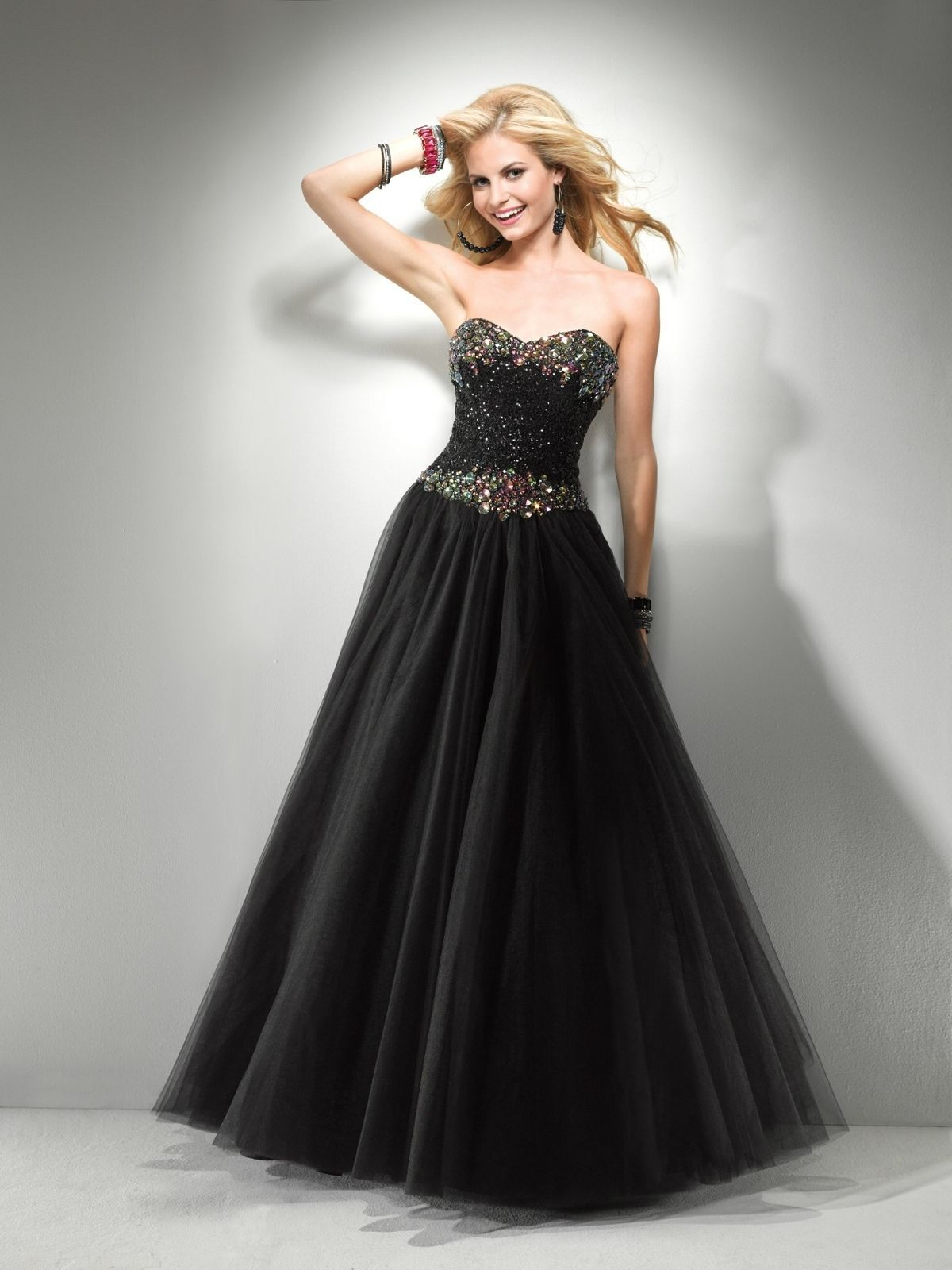 Image 5 of Sexy Strapless Black or Pink Beaded Prom Pageant Evening Gown Dress, Flirt 5794