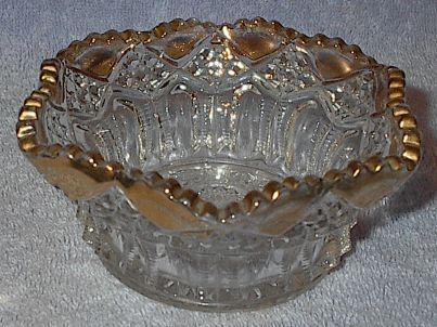 Eapg Pressed Pattern Glass Bowl with Gold Trim