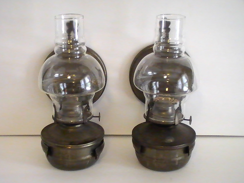 Wall Mounted Oil Lamps : Oil Lamp Vintage Rustic Metal Wall Mounted Set of 2 - Oil