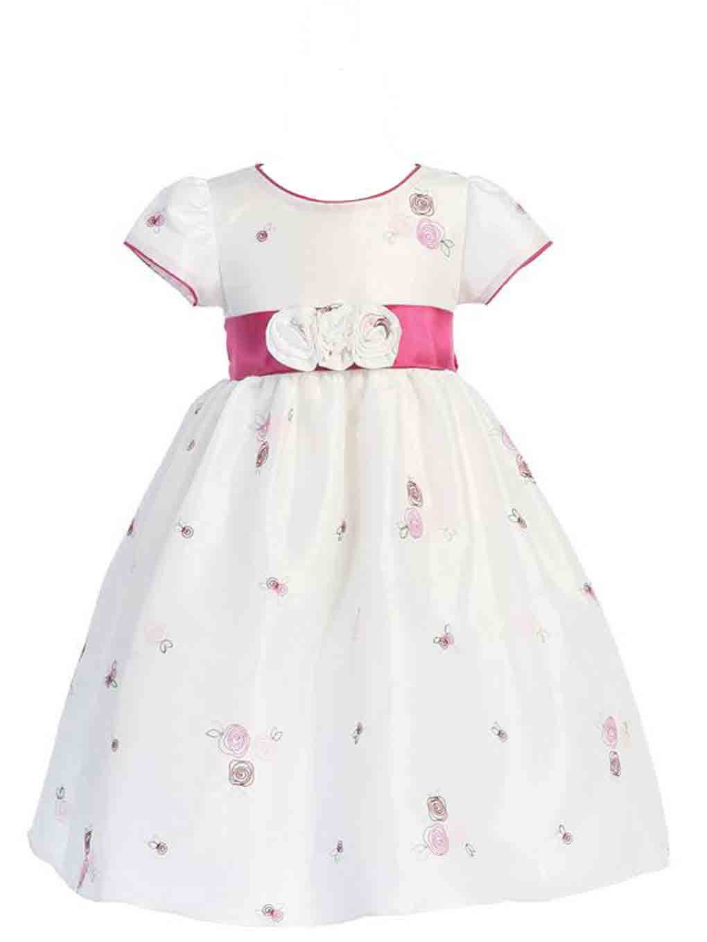 Image 1 of Gorgeous Boutique Pink White Embroidered Flower Girl Party Dress Lito USA - 4T