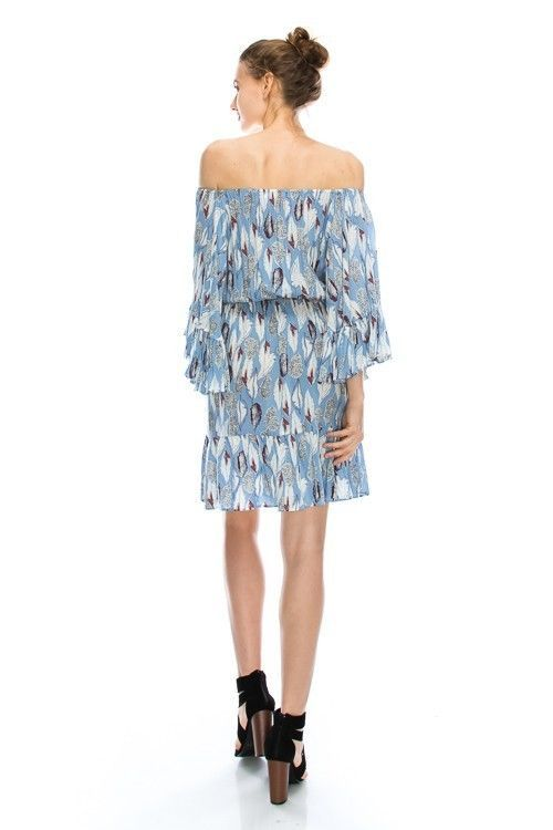 Image 1 of Flirty Off-Shoulder Boho Blue Feather Print Chiffon Party Dress, S, M or L Blue