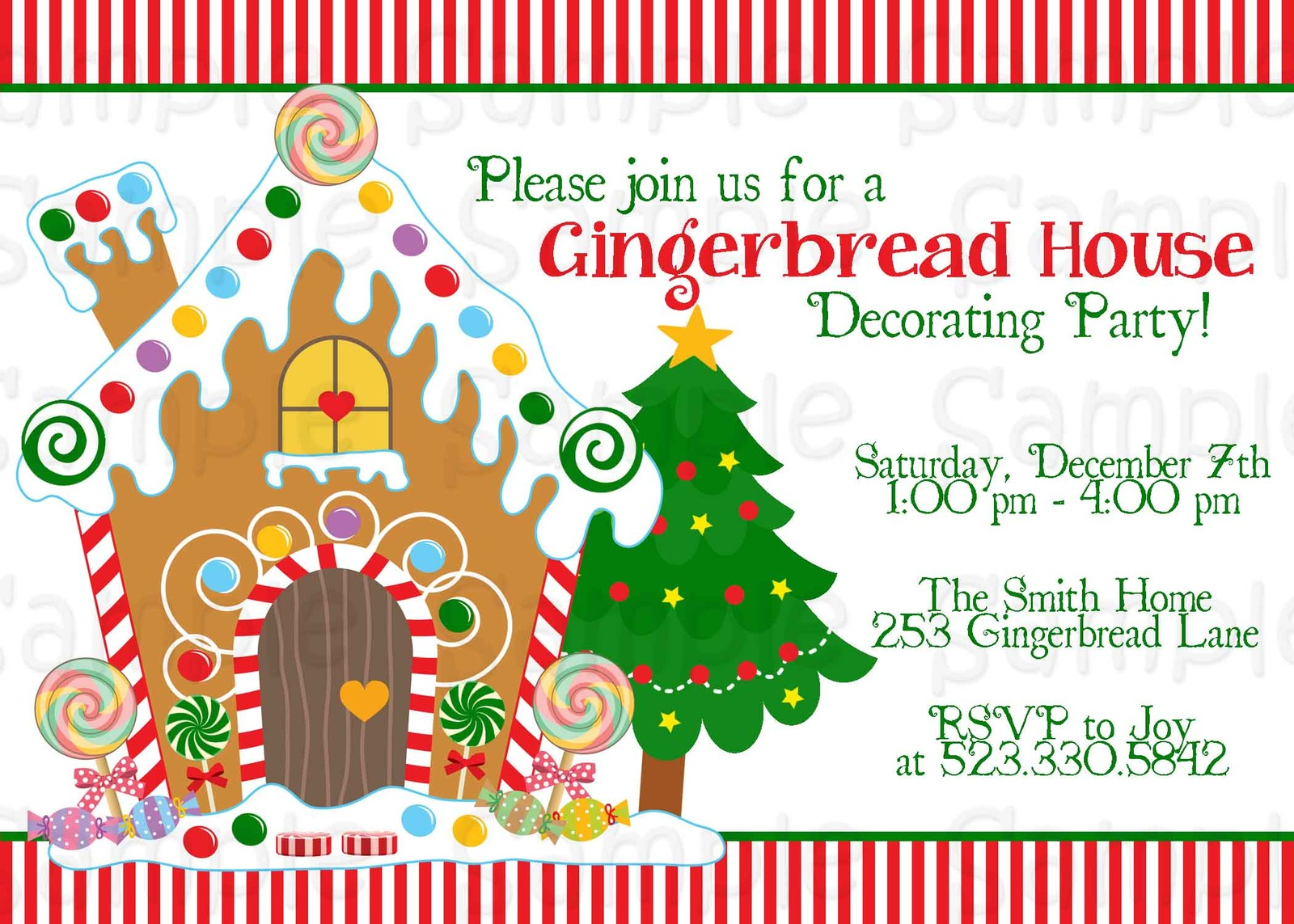Gingerbread House Decorating Party Printable Invitation ...