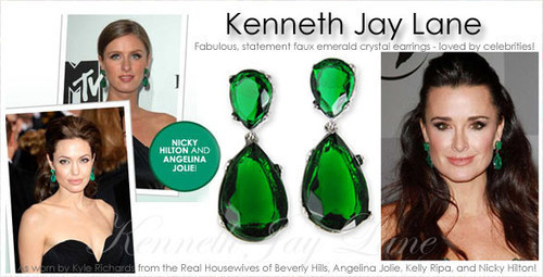 NEW Kenneth Jay Lane EMERALD Swarovski Crystal Tear Drop Pierced Earrings
