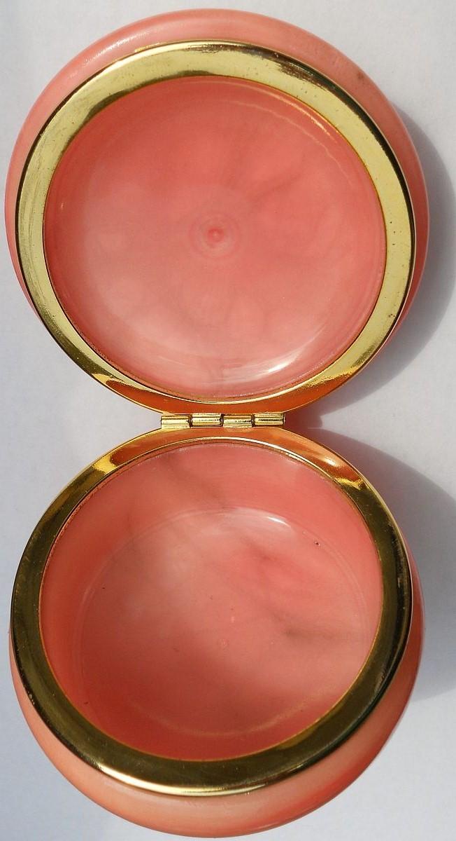 Image 1 of Genuine Alabaster Trinket box hinged dark pink floral Italy