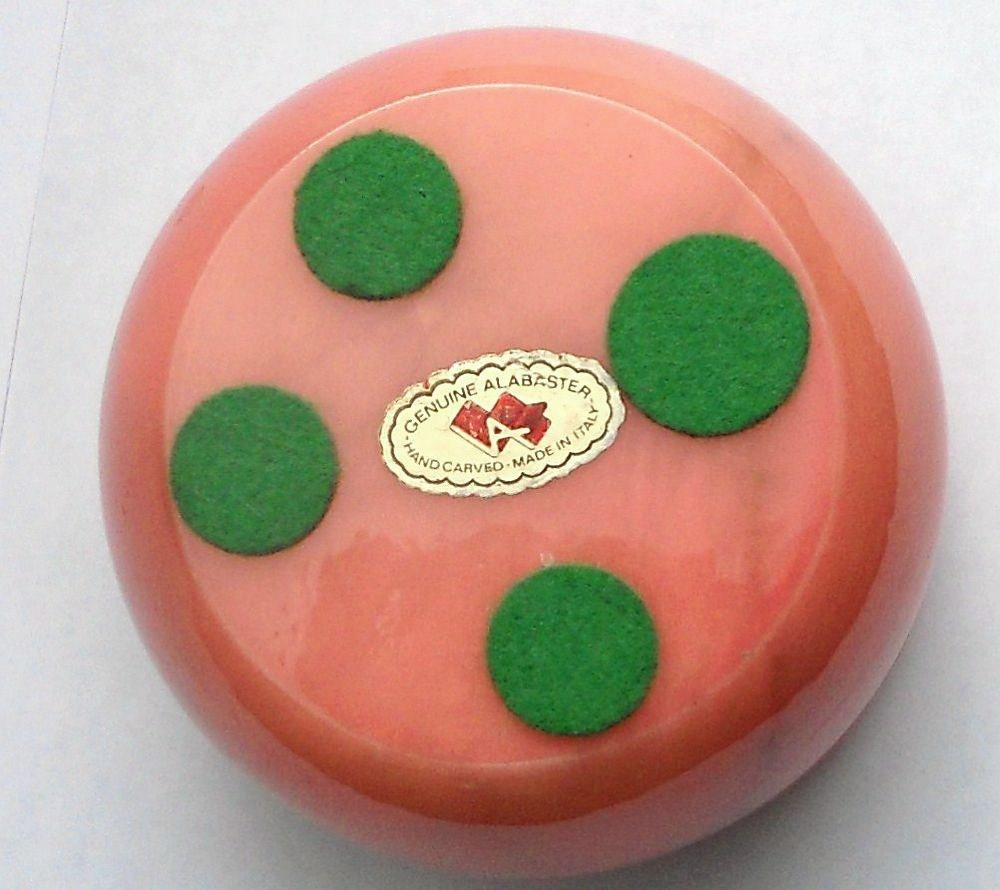 Image 3 of Genuine Alabaster Trinket box hinged dark pink floral Italy