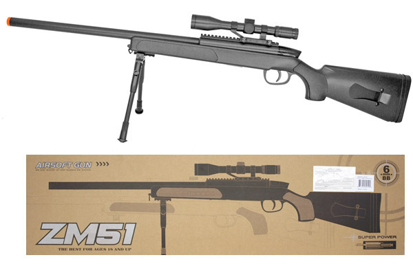 ZM51 Bolt Action Spring Powered Airsoft Sniper Rifle w/ Scope & BiPod Black