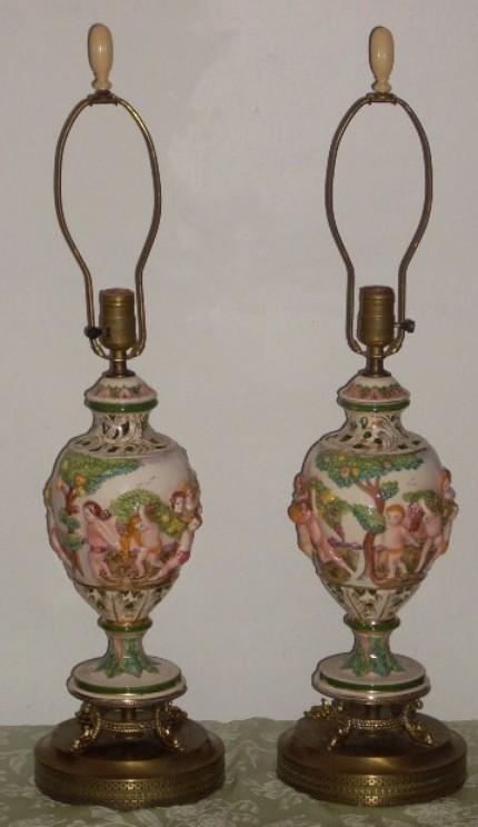 Capodimonte Porcelain Italy Pottery Cherub Table Lamps