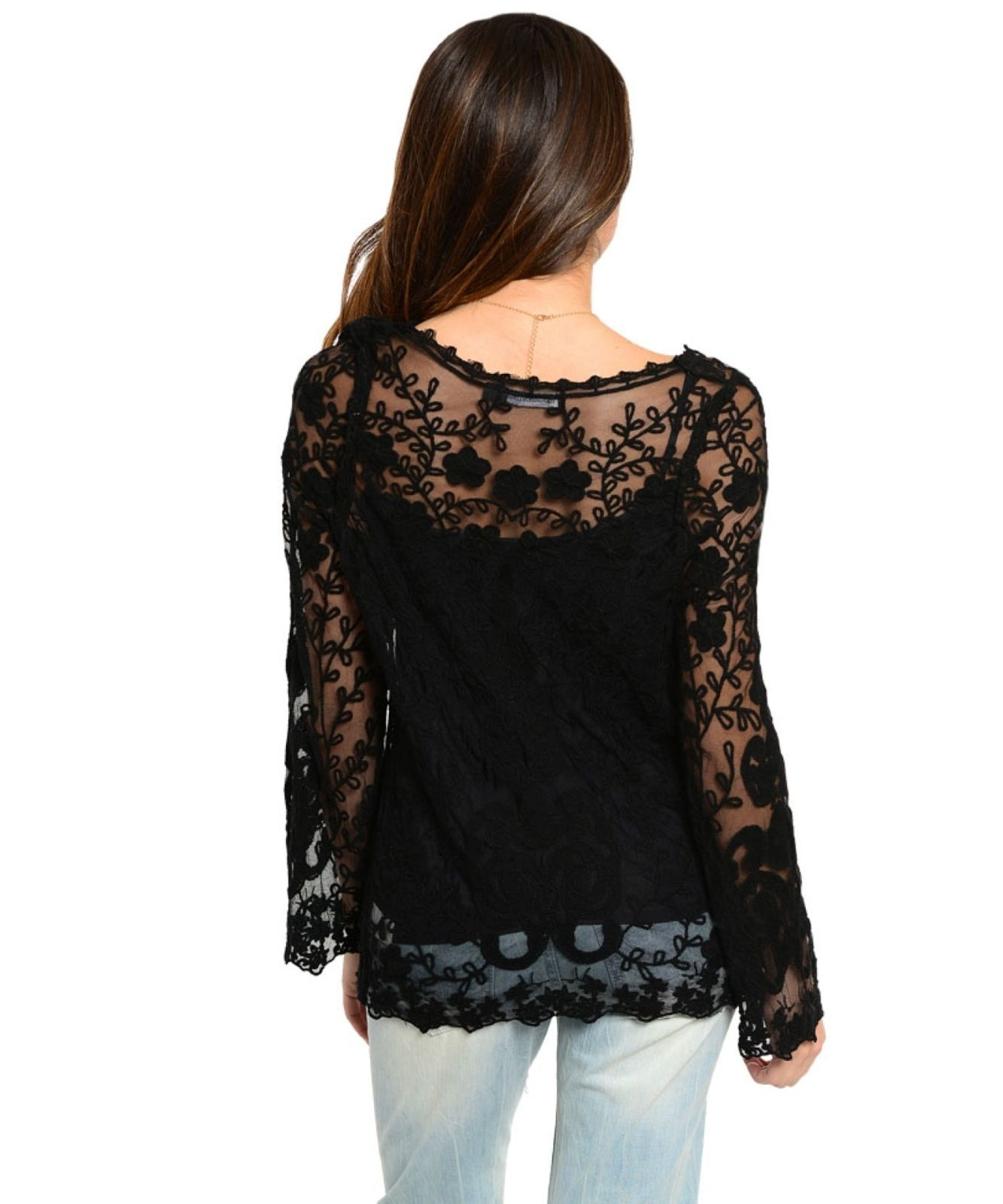 Image 2 of Romantic Sexy Boho Lace Jrs Tunic in White or Black, Party or Casual Dress-up -