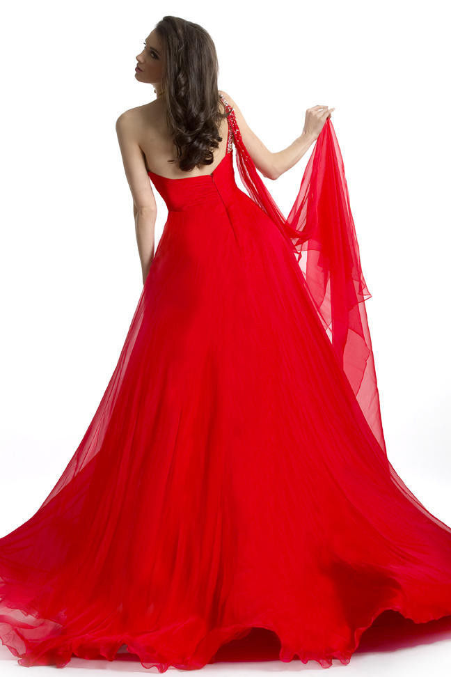 Image 2 of Stunning Sexy Silk Beaded One Strap Pageant Prom Gown, Prima Donna 5581 - Red -