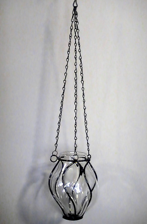 Caged Pendulum Glass Candle Holder or Vase Suspended Black Iron
