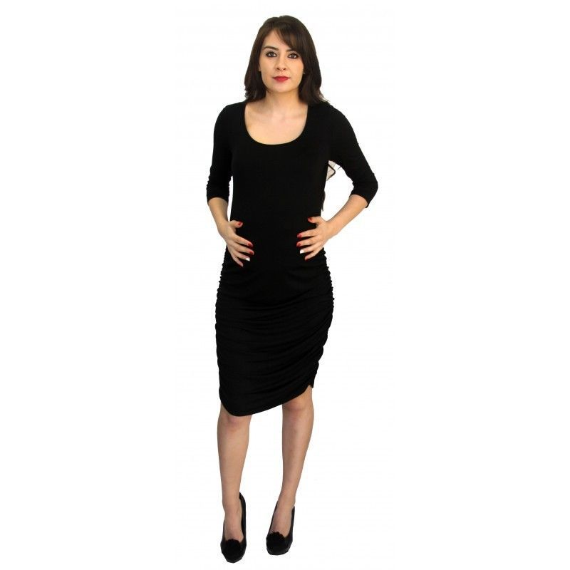Chic Office Career Cocktail Party Black Maternity Dress USA, S-XL - Black