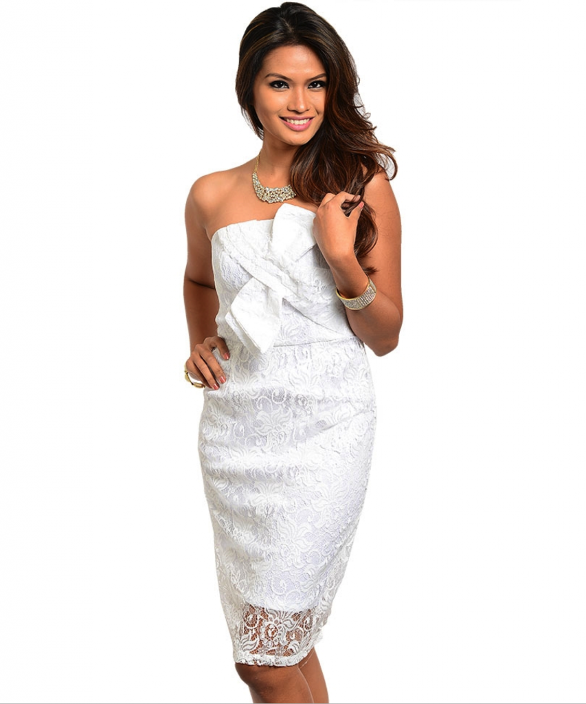 Image 1 of Sexy Strapless White or Black Lace Short Party Cocktail Dress w/Bow Accent - Whi