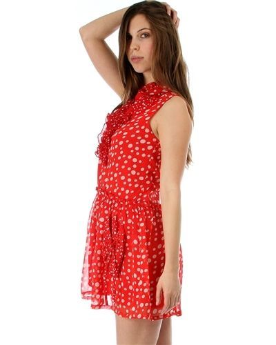 Image 2 of Sweet Flirty Red Chiffon Polka Dot Sleeveless Anytime Mini Dress w/ Pockets - Re