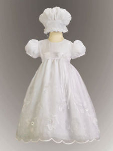 Precious Baby Girls White Embroidered Christening Boutique Dress/Bonnet Lito USA
