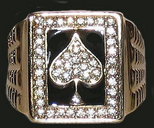 Ace Spades Iced Men's Bling Ring Size 13 New Bonanza