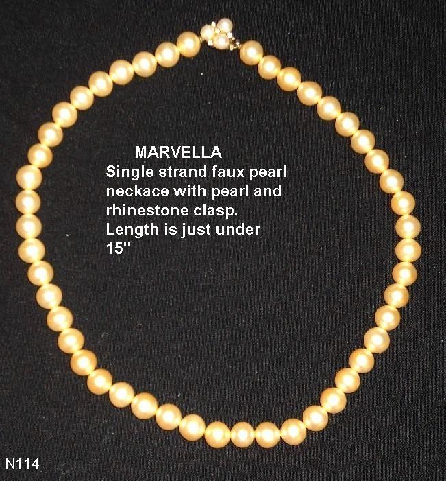 MARVELLA Vintage Imitation Pearl Necklace Bonanza