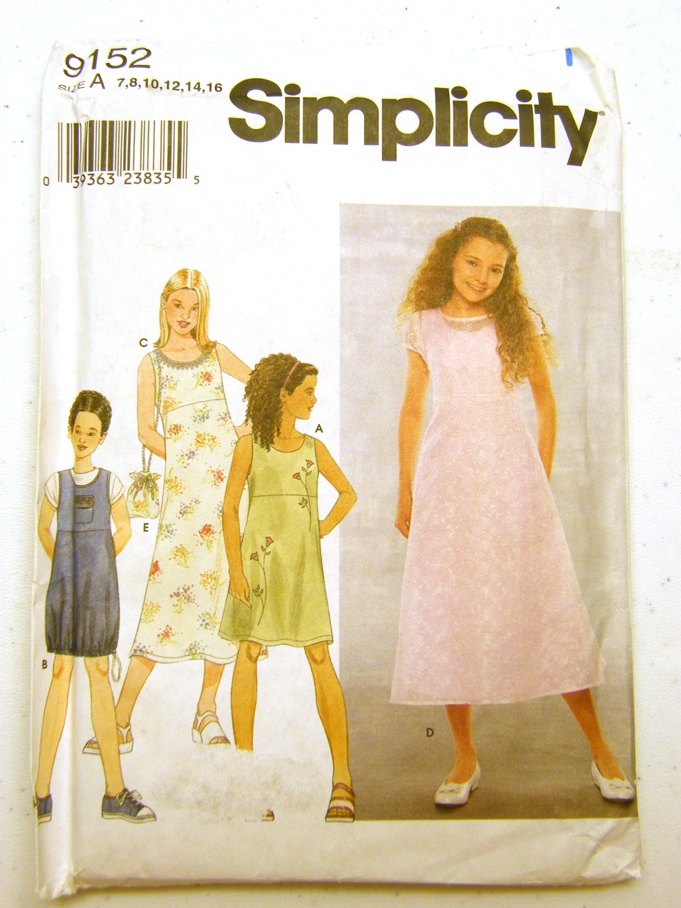 Simplicity Girl Dresses or Jumper and Purse 9152 for Size A, Simplicity New Look