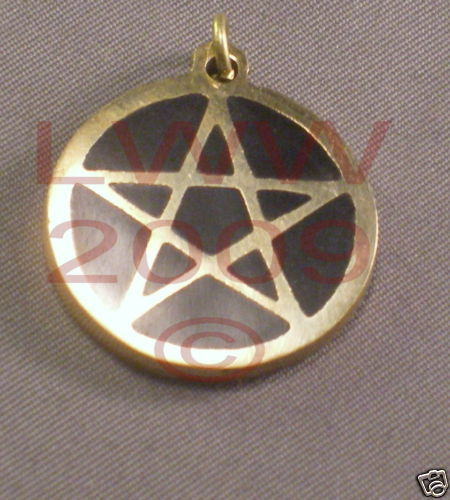 NEW Solid Brass inlaid black Pentacle Necklace Pendant Bonanza