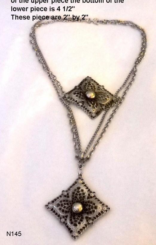 Unusual Vintage Silvertone  Necklace Bonanza