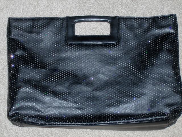 Victorias Secret  Purse Black with Silver Sparkle Handbag Tote Bag Bling Shopper Victoria's Secret