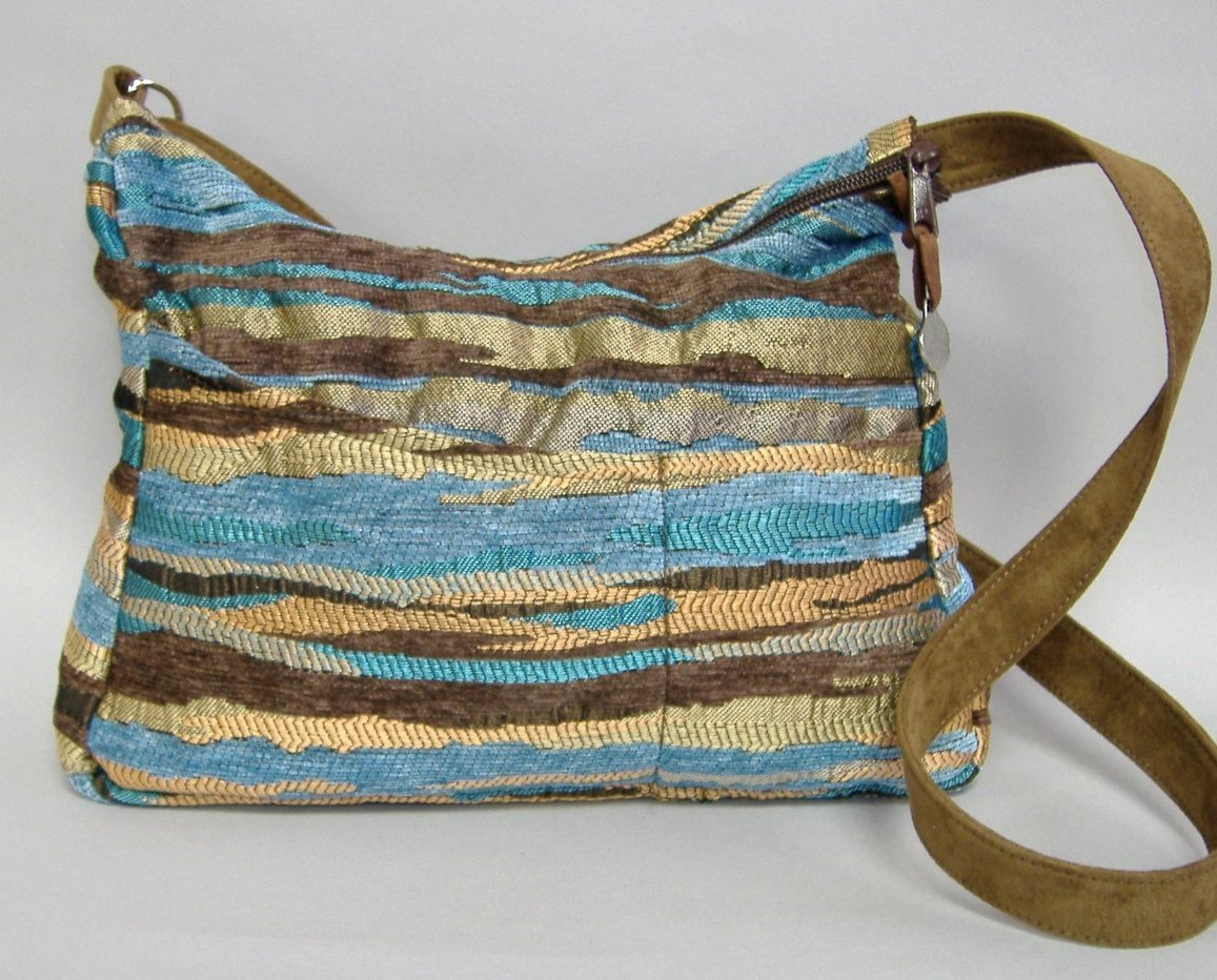 Mesa Blue Hobo Purse Brown Tan Handmade Chenille Handbag Tote Shoulder Bag