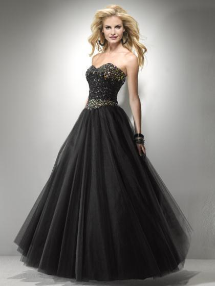 Image 0 of Sexy Strapless Black or Pink Beaded Prom Pageant Evening Gown Dress, Flirt 5794