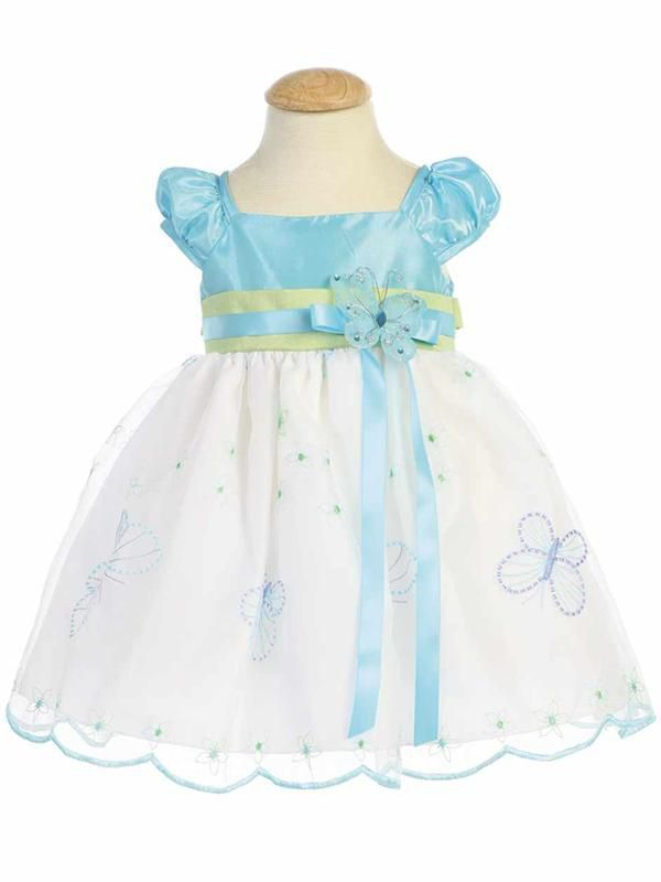 Image 0 of Gorgeous Boutique Blue Green Embroidered Flower Girl Party Dress Lito USA