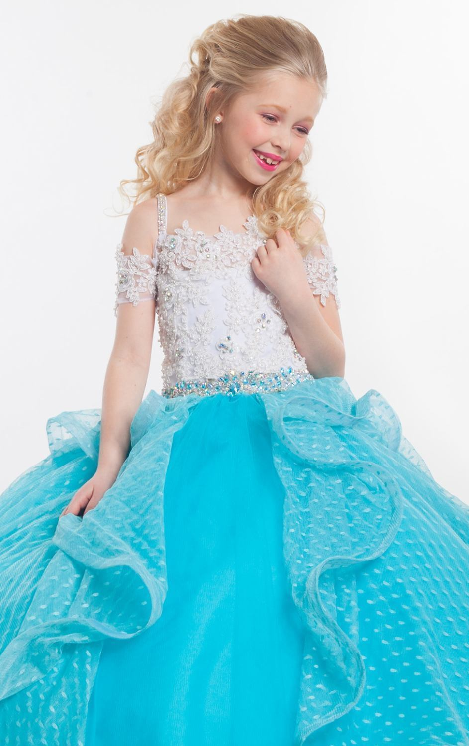 Image 3 of Perfect Angels Little Girls' Beaded Tiered All White Pageant/Flower Gown Dress -