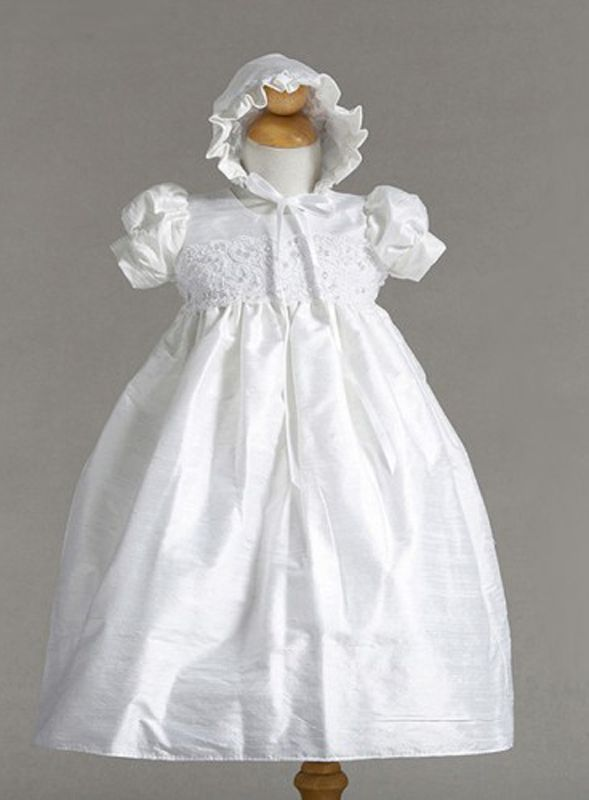 Image 0 of Stunning Shantung Silk Dressy Baby Girl Boutique Christening Holiday Dress/Hat -