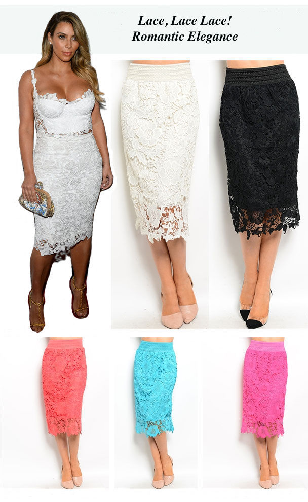 Image 4 of Chic Crochet Lace Lined Jr Skirt, Cocktail Club Wedding Party, Fuchsia or Aqua -