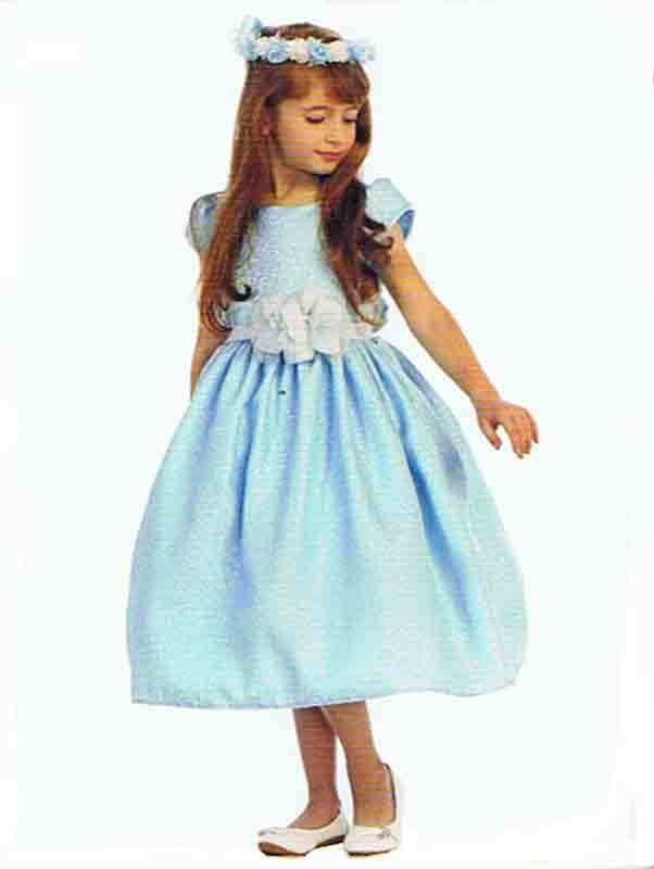 Chic Baby Light Blue/White Tea Length Pageant Party Holiday Dress, 2, 4, 6 USA -
