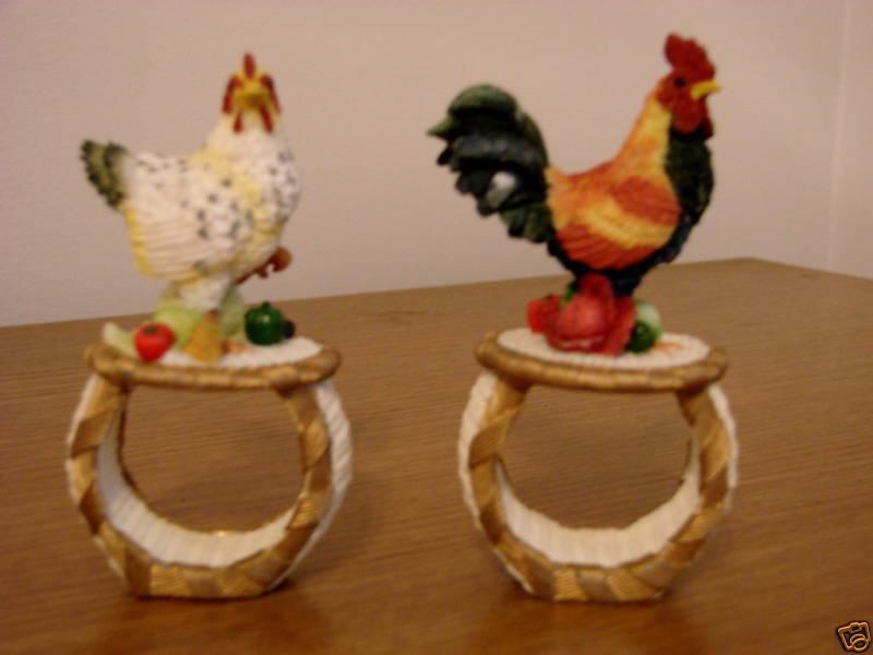283c  Rooster Chicken Hard Resin Napkin Rings Artisan Flair Bonanza