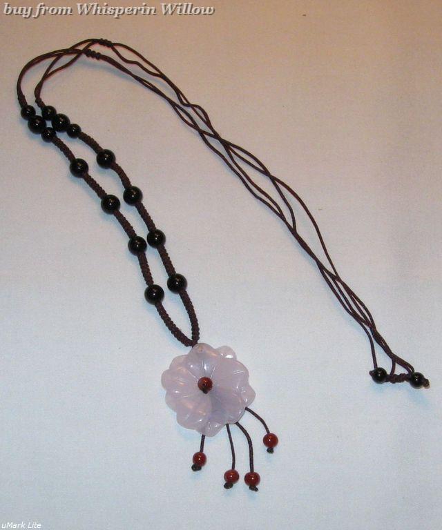 Rose Quartz Flower Pendant Necklace Bonanza